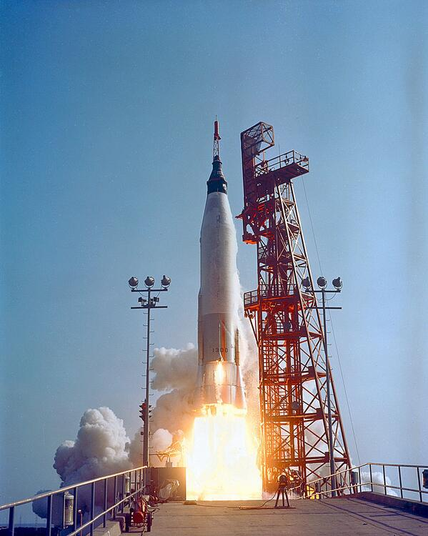 #Now in 1963, Faith 7 blasts off with Gordon Cooper on board, the last Project Mercury flight    http://t.co/qiNfXUeqMs
