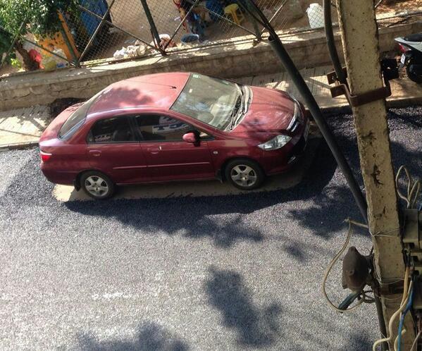 :)) RT @oligomath: Random #wtf of the day - road laid around a car in HSR layout http://t.co/ubnAtShCqT