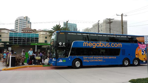 Launch of Megabus service from #Tampasdowntown. Round trip to Miami w/ fees is $5. Double deck, wifi, power outlets. http://t.co/AKzZoQzgYD