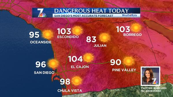 """""""@NBCJodi: DANGEROUS Heat will develop in #SanDiego County today. Take care! Today's Highs: #NBC7 http://t.co/Jvb0ArQv7V"""" Find a cool zone!"""