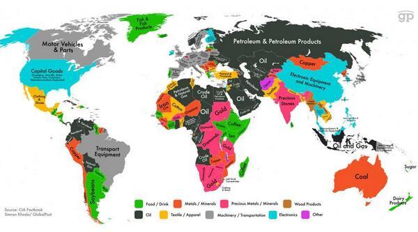 La carte mondiale des produits qui rapportent le plus à l'export >> http://t.co/KzhOKtaZGJ http://t.co/WG2fe4vrFP