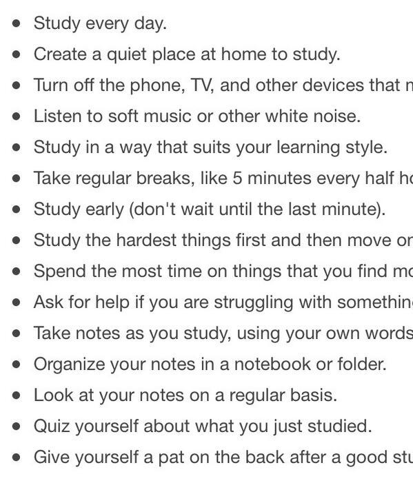 RT @englishinstruc2: Top15 lists of good study habits http://t.co/HhE5DEYI8b