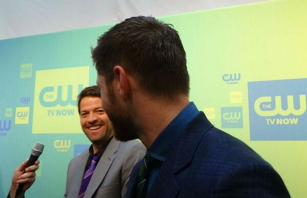 U all wanted Misha & Jensen together, right? This ok? (Video coming @TVFanatic)  #CWUpfronts @cw_spn @mishacollins http://t.co/b2sz8XVEDW
