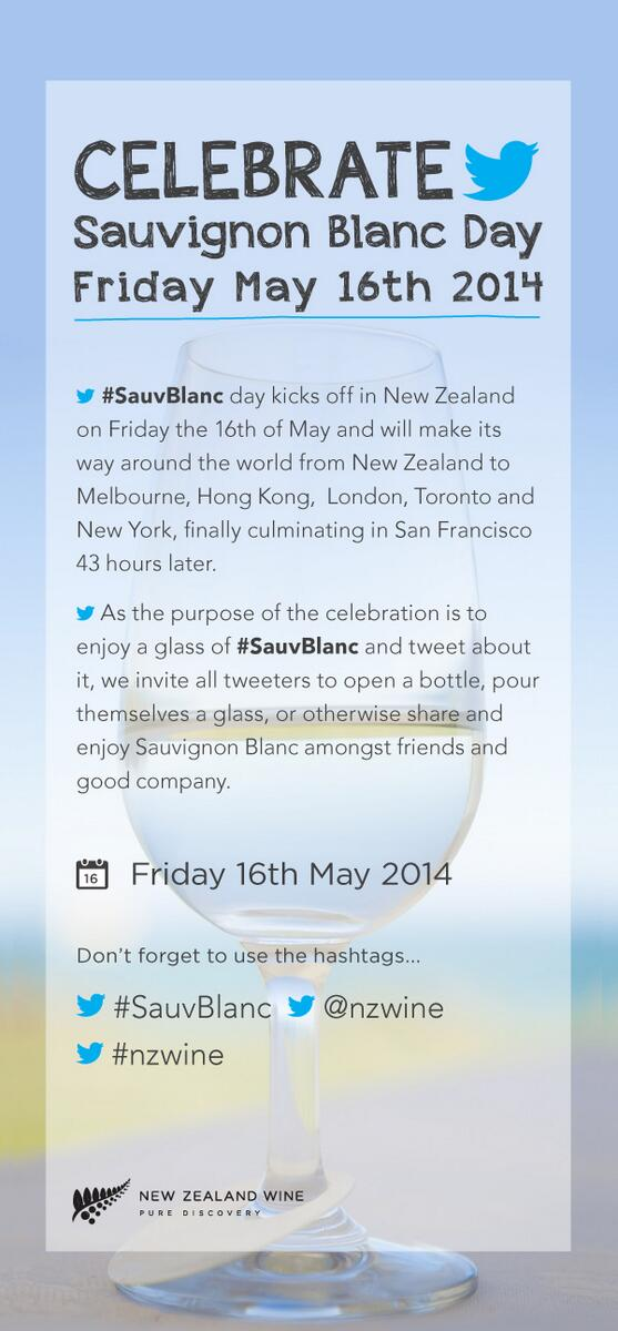 Here we goooooo! It's officially #SauvBlanc Day in New Zealand! Let's get tweeting! #nzwine http://t.co/Y3YAW3Icm7