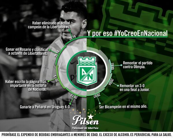 Nadie dijo que era fácil #YoCreoEnNacional #Pilsen110AñosDeParche @HumoVerdolaga http://t.co/88Pe9Ort1M