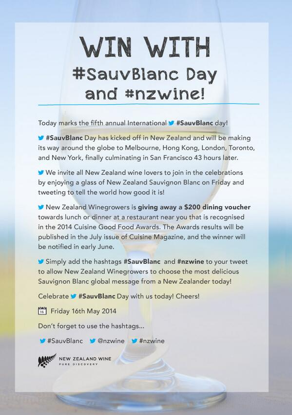 Hello NZ Tweeps! A special #SauvBlanc Day competition with @nzwine and @cuisinemagazine... Click for details! #nzwine http://t.co/7xw7zgFxPe