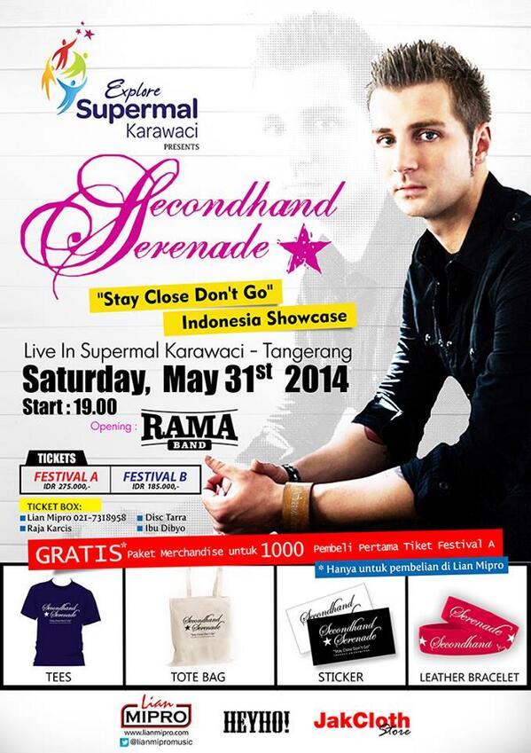 Secondhand Serenade bakal hadir di Supermal Karawaci tgl 31 Mei 2014. tiket 185rb & 275rb. cc: @SHS_Indonesia http://t.co/tNZstOiGhq