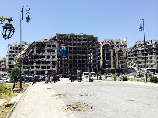 In the middle of the destruction. Assad elections poster. Homs #Syria. http://t.co/oJwaSKLPWL