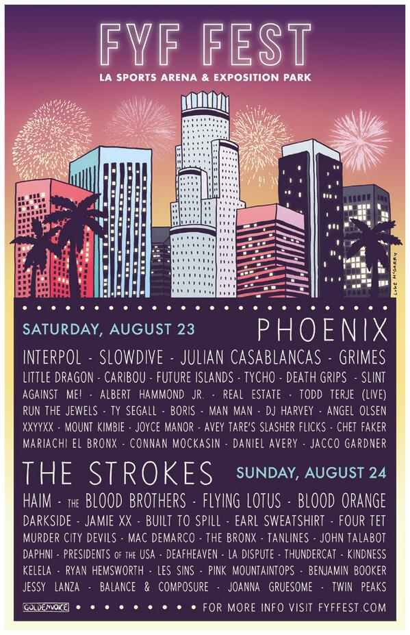 The lineup for FYF Fest has been announced! info at http://t.co/U2mxS8RzZw #FYFFEST http://t.co/HLNUcxOa9E