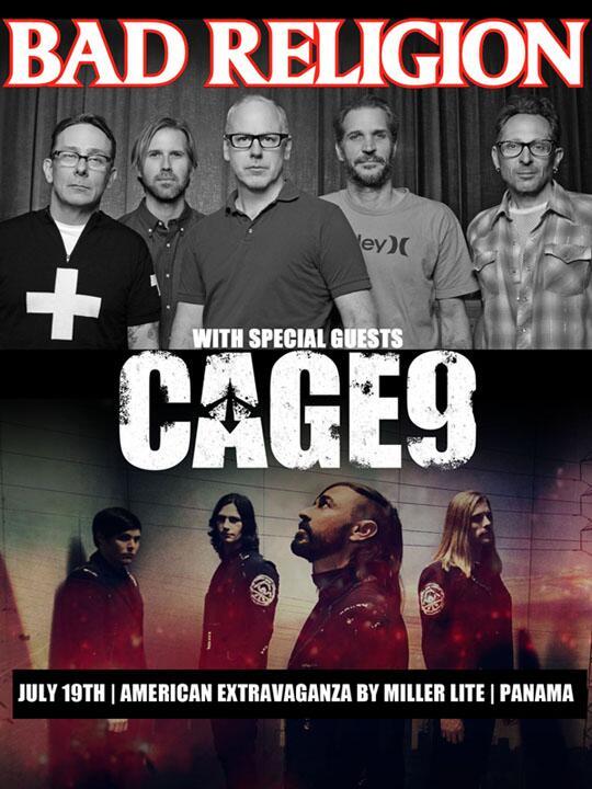 Confirmado! Cage9 en Panama con @BadReligion el 19 de julio!!!  Nos vemos alla!! Tambien @polyphaseband y @Calibre57! http://t.co/VjAjBiJ875