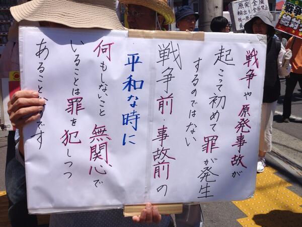 茅ヶ崎お散歩デモ。参加者プラカード。 http://t.co/v7RokjqNMd