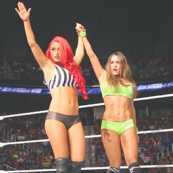Yass queens @nicoleandbri & @natalieevamarie on #Smackdown right now! West coast time! http://t.co/XZruweozHt