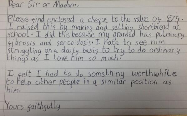 We just got this letter in the post from a 12 year old. It touched our hearts, so we thought we'd share it with you. http://t.co/etJyCWMvFS