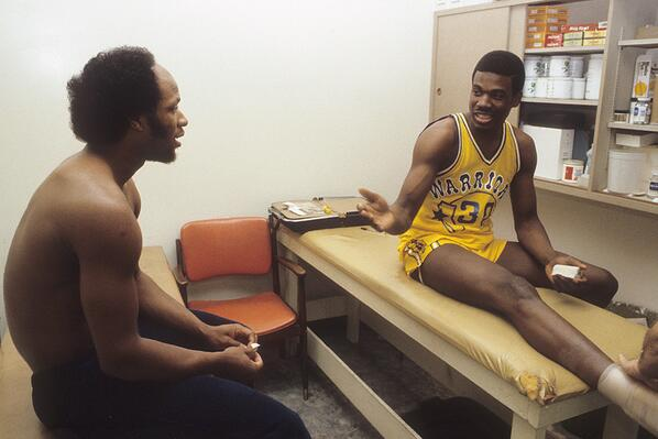 Bernard King and World B. Free hang out in the Warriors training room before a 1980 game. http://t.co/BTQXYWVfLV