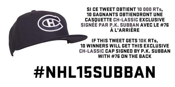 10 000 RTs. 10 casquettes CH-lassic signées. GO! / 10K RTs. 10 signed CH-lassic caps. GO! #NHL15Subban http://t.co/lkLUYa28cG