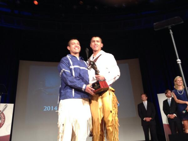 Albany's Miles and Lyle Thompson have been named co-winners of the 2014 Tewaaraton Trophy. @UAlbanyLacrosse http://t.co/Jlg5vD4BsH