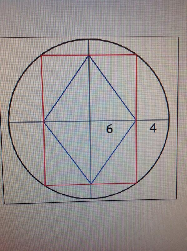 #fridaypuzzle: rhombus inside a rectangle inside a circle. Distances given. Find the perimeter of the rhombus? #fb http://t.co/G1p6TSQq6l