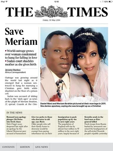 Our front page today. The case of Meriam Ibrahim is causing global outrage #SaveMeriam http://t.co/8ZV4uP7DUg