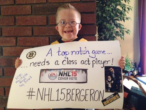 "This smile... ""@NHLBruins: Our friend Liam showing us why #NHL15Bergeron should be on the NHL 15 cover. http://t.co/PIIrx8aYI5"" :)"