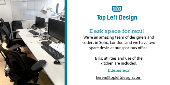 We have 2 spare desks in Soho to rent. Please share so someone gets the chance to hang out with us! http://t.co/xRZZIDhIio