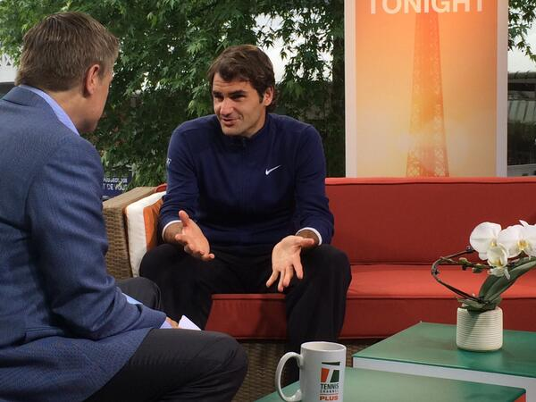 @rogerfederer stopped by our French Open Tonight set after his win today #Federer #RG14 http://t.co/Mjmq7oBT78