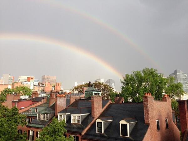 Double rainbow over downtown! 6:15pm, no filter. @universalhub #boston http://t.co/ULS3nadLL1