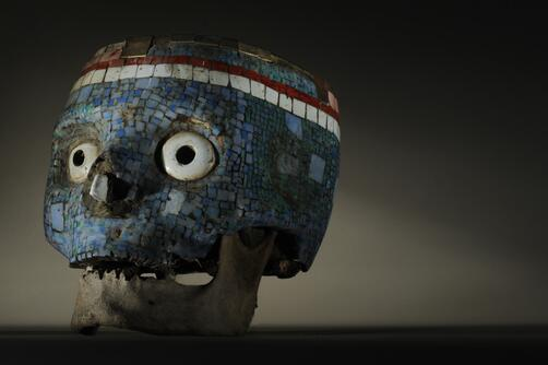 Aztex mosaic mask made out of a human skull. Photo by Kenneth Garrett http://t.co/ObEoLkaxyl