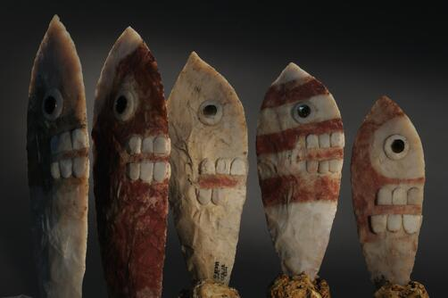 Ceremonial knives from the tomb of Aztec ruler Ahuitzotl, excavated in 2007. Look at their li'l teeth! By K.Garrett http://t.co/4Q9RlHUMQi