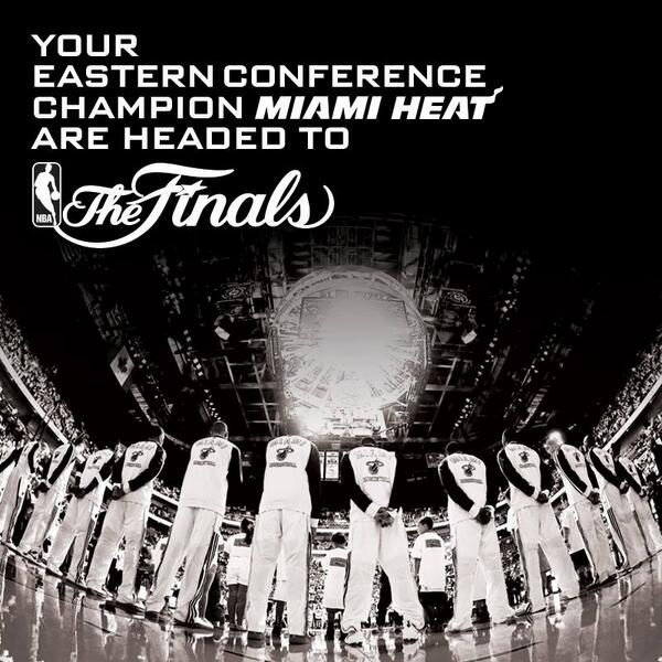 WE'RE GOIN, GOIN... BACK, BACK... TO THE FINALS - FINALS! Our Miami HEAT are the 2013-2014 EASTERN CONFERENCE CHAMPS! http://t.co/bsd6v7xSpg