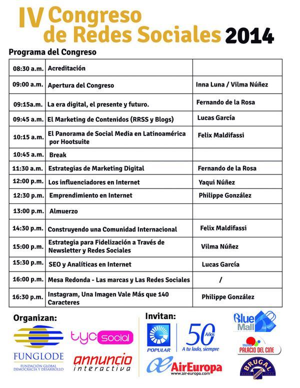 Les compartimos el programa de mañana IV Congreso de Redes Sociales 2014 #tyc2014 en @PalaciodelCine en Agora Mall http://t.co/N77eHiYFY4