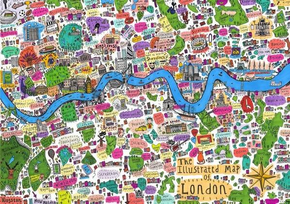 My artist daughter has designed a London map. Check out loftus road v CFC