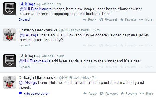 RT @NHL: ICYMI - The @NHLBlackhawks & @LAKings made a friendly wager on their series. Who wants a slice? #BecauseItsTheCup http://t.co/hoBB?