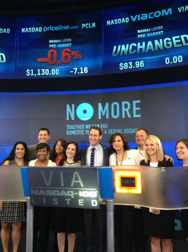 Getting set to ring today's #NASDAQ Opening Bell with @Viacom @NOMOREorg and @Mariska. $VIA #sayNOMORE http://t.co/jNtECjdlqO