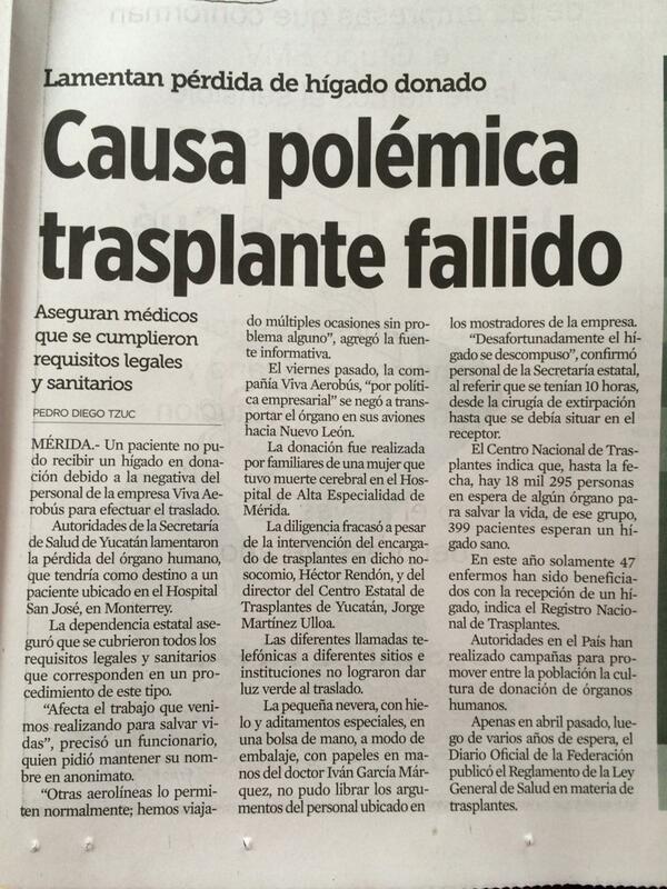 ¡POR FAVOR DIFUNDAN ESTA NOTICIA! Negligencia de @VivaAerobus provoca pérdida de trasplante de hígado RT! http://t.co/CrG311mhiV