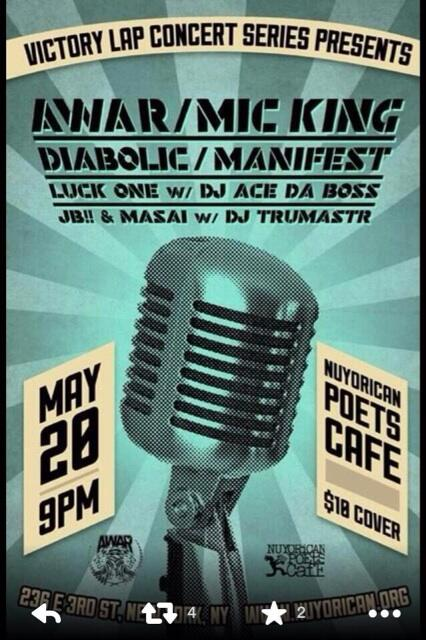 Tomorrow night I'm rappin' and so are @manifestmusic @diabolichiphop and @AWAR at Nuyorican. Come thru http://t.co/SEZ6yzIYyo