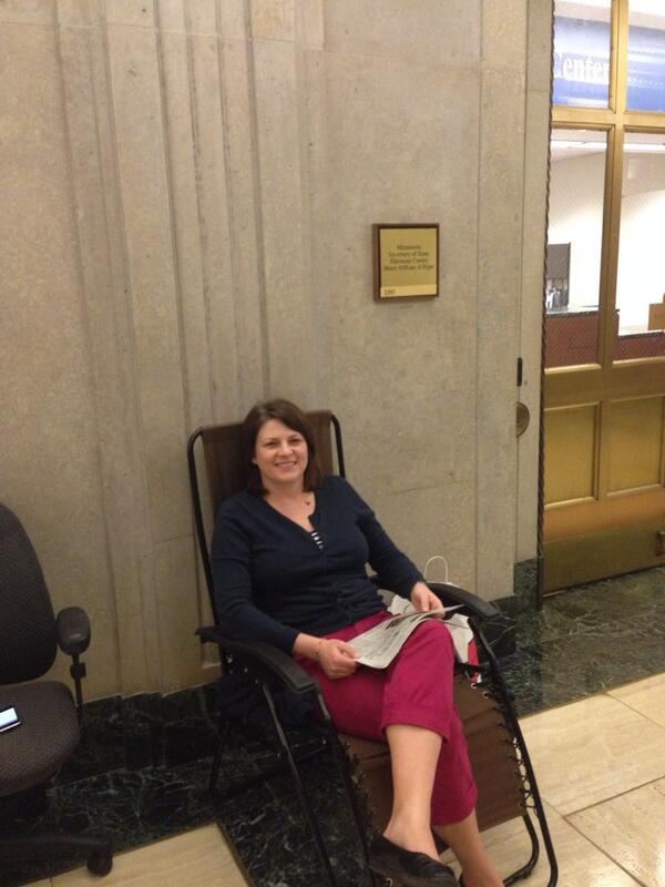 Peter Glessing (@PGless): Ahead of tomorrow's filing opening, Rep. @JoycePeppin is 1st in line. #mnleg http://t.co/FXUUL15VRa