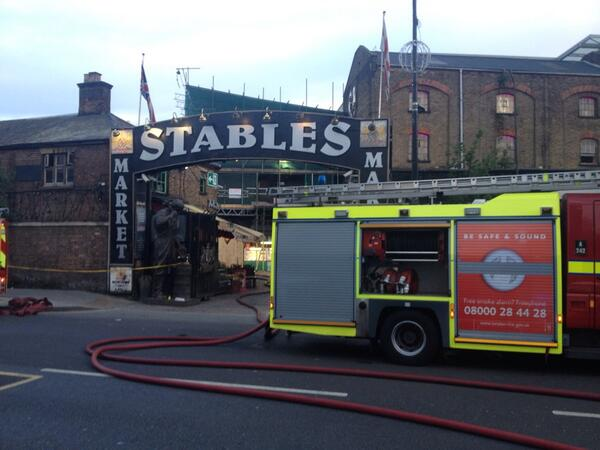 Thin smoke is still coming from out of the Stables Market. http://t.co/4SRWkgpPer