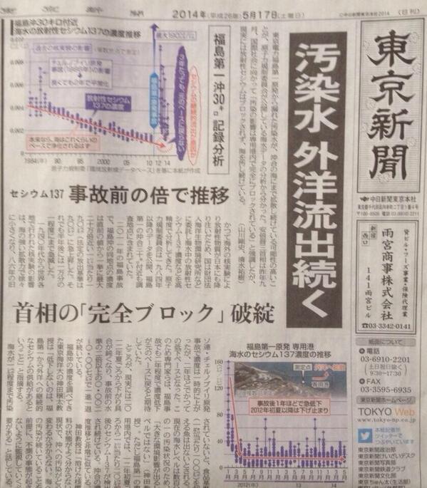 こうした報道が完全にブロックされませんよう>東京新聞  :  汚染水 外洋流出 続く http://t.co/xDDbI7qo2g