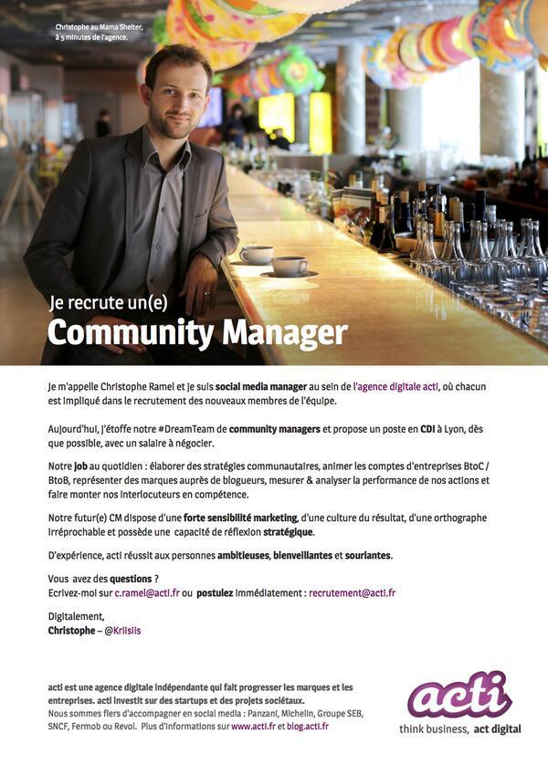 Je recrute un(e) community manager en #CDI chez @acti à #Lyon :) #CM #PleaseRT PDF annonce : http://t.co/45BkBvWscK http://t.co/pav8zvrKXH