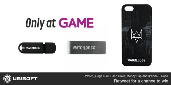 We've teamed up with @GAMEdigital for some exclusive #Watch_Dogs gear!  Retweet for a chance to win some! [UK] http://t.co/4dNXevxfm9