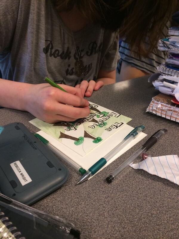 Becca working on a free drawing in class. We have a lot going on today! http://t.co/aGUnDnsdVd