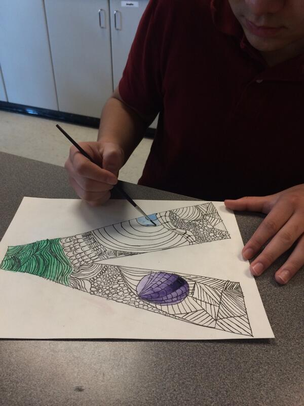 Noe working on his Zen Tangle. Zen Tangles are sup to relax and focus students. #DPLN http://t.co/WyzmFrMNLd