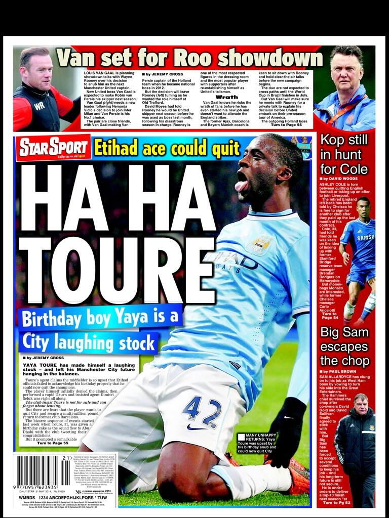 See how the backpages have torn into Yaya Toure for his Man CIty exit threat for birthday snub [Pictures]