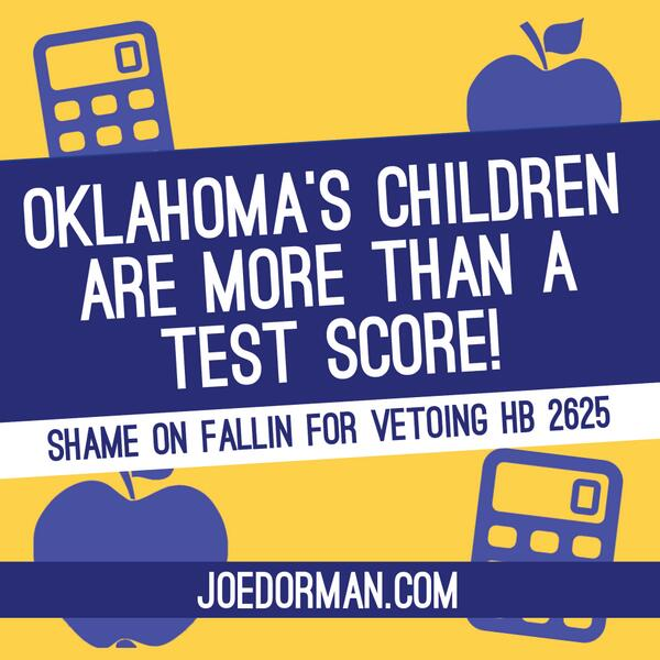 When will @GovMaryFallin understand that Oklahoma's children are more than a test score? #OklaEd http://t.co/0BhQOEX294