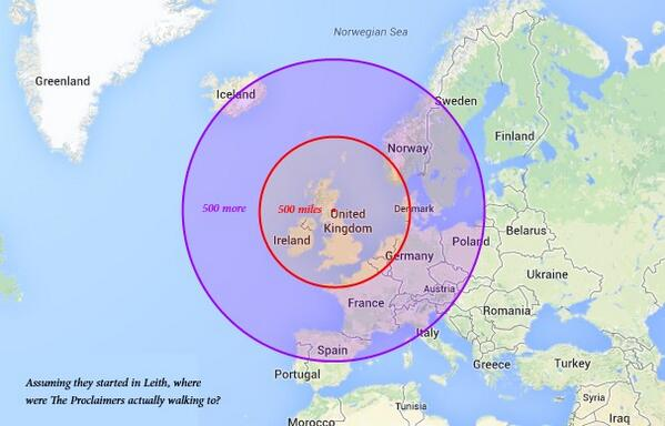 I love the internet. MT @HazelMcKendrick: Where the hell were the proclaimers walking to? http://t.co/4cBN13dIAf