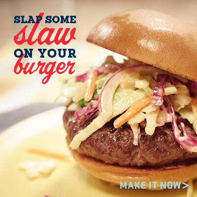 Put your burger where your mouth is. And slap some slaw on it too. Get the recipe here. http://t.co/OLVw1mDWZp http://t.co/YpwjmMjFsU