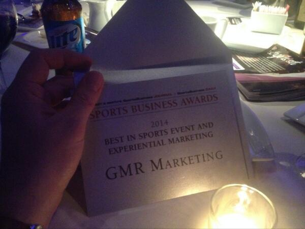 GMR takes home an award for Best in Sports and Experiential Marketing. Honored and excited! #SBJAwards http://t.co/Sn7ed7CWWT