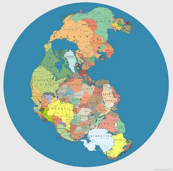 This is a map showing where the land used to be during the time it was Pangaea. http://t.co/E7CaePmogu