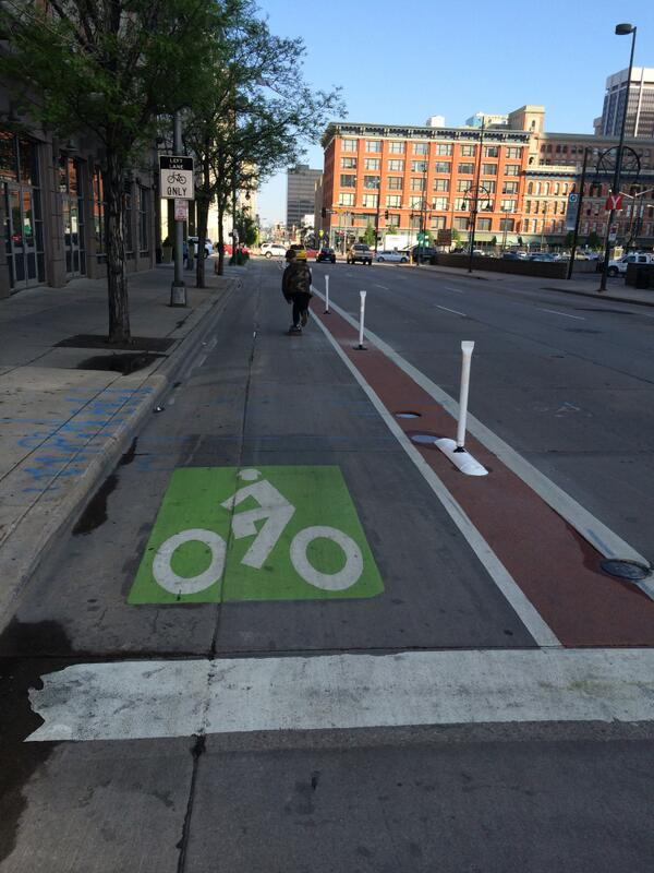 Last night, #DowntownDenver installed its first protected #bikelane. Thank you @DenPublicWorks! @BikeDenver #bike http://t.co/4yM0UGZGaI