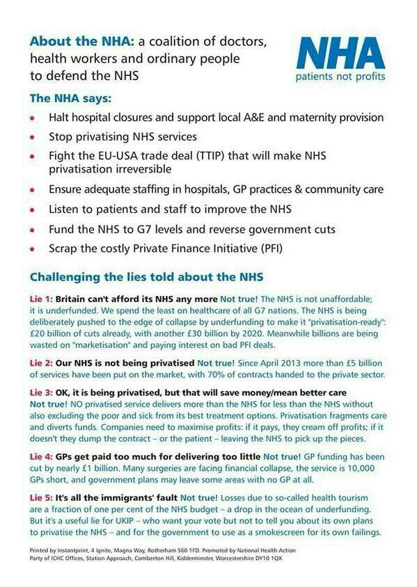 If it wasn't for the NHS I could be paralysed and 100% deaf, they do wonders DON'T LET IT GO PRIVATE VOTE @NHAparty http://t.co/pim0mqsW0d